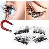 False Magnetic Eyelashes 3D Reusable Fake Eyelashes ,Best Fake eye Lashes Extensions No false eyelashes glue 0.2mm Ultra-thin 3D Fiber for Natural Look 1 Pairs 4 Pieces (4pcs) (1pair-4pcs)