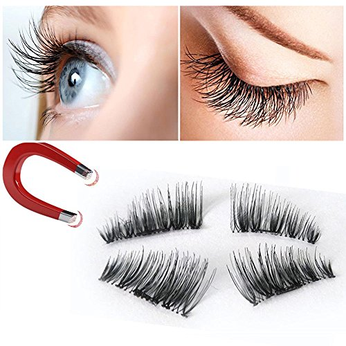 mright False Magnetic Eyelashes 3D Reusable Fake Eyelashes ,Best Fake eye Lashes Extensions No false eyelashes glue 0.2mm Ultra-thin 3D Fiber for Natural Look 2 Pairs 4 Pieces (8pcs)