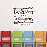 BATTOO Joshua 1:9 Be strong and courageous - Nursery Wall Decal Quote Arrows Vinyl Wall Decal - Bible Verse Boy Room Scripture Wall Decal Vinyl Lettering(dark brown, 33''WX30''H)