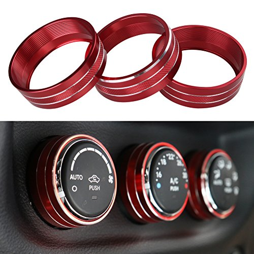 Price comparison product image Santu Interior Audio Air Conditioning Button Cover Decoration Twist Switch Ring Trim for Jeep Wrangler JK JKU Compass Patriot 2011-2017 3PC / SET(Red)