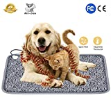 Karidge Pet Heating Pad Electric Heat Pad for Dogs Cats 28'x18' Safety Heated Pet Bed Waterproof Adjustable Temperature Large Warming Mat with Chew Resistant Steel Cord (Monogram)