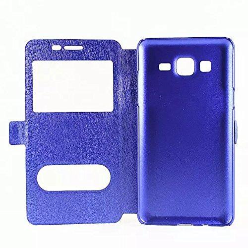 Carcasas y fundas Móviles, Para Samsung Galaxy On7 / G600, color sólido cuero de la PU con soporte doble ventana abierta patrón de seda funda protectora para Samsung Galaxy On7 / G600 (responder o rec Blue