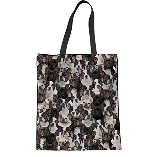 (UNICEU Pet Dogs Print Linen Women's Tote Bag Shopping Bags Top Handle Crossbody Handbag Purse (Boston Terrier))