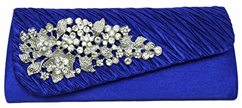HotStyleZone gorgeous lady's diamante evening party prom clutch bags floral brooch 15 colours Royal Blue