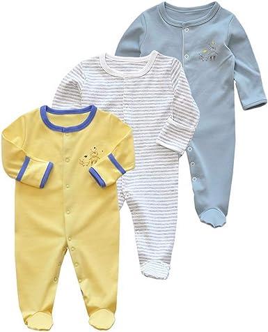 Bebé Mameluco de Algodón Piezas de 3, Recién Nacido Pelele Niño Niña Pijama Monos Manga Larga Body Ropa para Bebé 0-12 Meses: Amazon.es: Ropa y accesorios