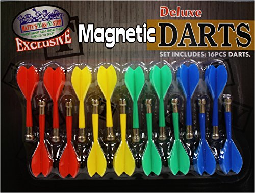 Deluxe 16 Piece Magnetic Replacement Darts with Plastic Wings in Red, Blue, Green & Yellow - ''Matty's Toy Stop'' Exclusive by Matty's Toy Stop