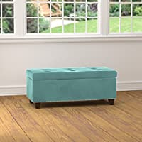 Storage & Cocktail Ottoman Traditional, Transitional Tufted Turquoise Blue Velvet Bench Ottoman - Assembly Required OTT423-VBL73. 16.5 in High x 40 in Wide x 17 in Deep