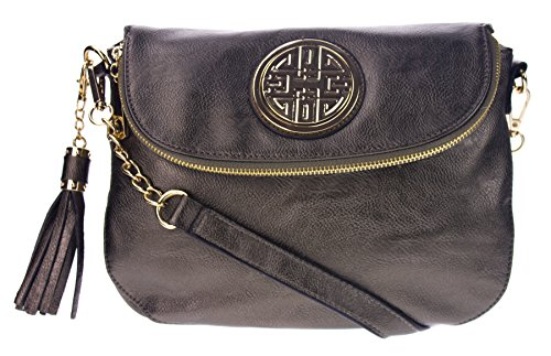 Canal Collection Multi Purpose Flap Top Crossbody Bag with Emblem (Pewter) (Cross Body Flap Bag)