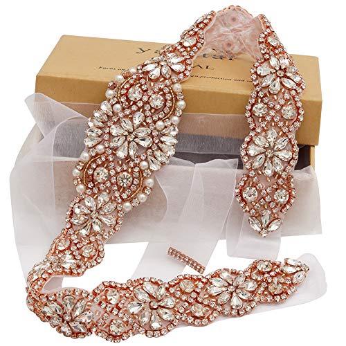 Wedding Bridal Dress Gown - Yanstar Handmade Rose Gold Crystal Beads Rhinestone Bridal Wedding Belt Sash With White Organza For Bridal Wedding Party Gowns Dress