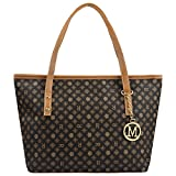 Micom Casual Signature Printing Pu Leather Tote Shoulder Handbag with Metal Decoration for Women (R Signature)