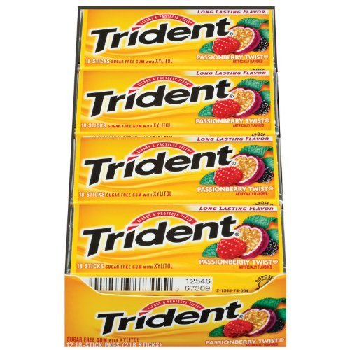 Trident Passionberry Twist, 18-Count Package (pack of 12) by Trident [Foods]