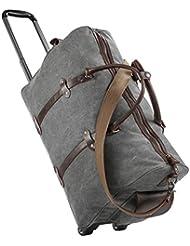 Luggage Rolling Duffel Bag, Gonex Leather Trim Canvas Wheeled Travel Bag 50L