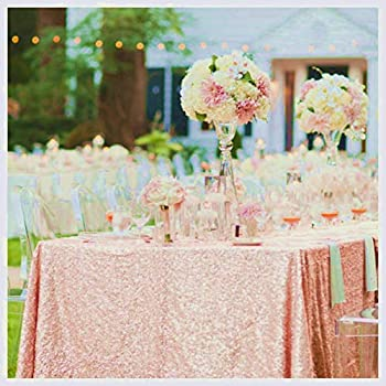 ShinyBeauty !! 60x102-Inch Blush Sequin Tablecloth