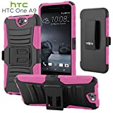 HTC One A9 Case, CellJoy [Ultra Rugged] {Pink} **ShockProof** Reinforced Impact Shield Bumper Protection Hybrid Case Cover **Kickstand** [Locking Swivel Belt Clip Holster Combo]