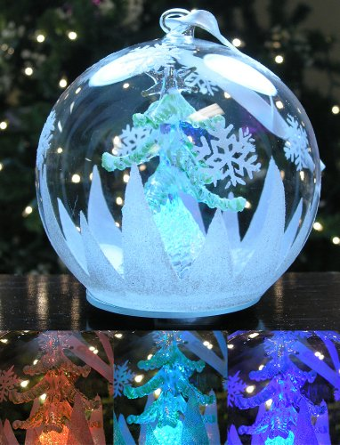 LED Glass Globe Christmas Ornament Hand Painted Glitter Snowflakes and Tree Color Changing Lights