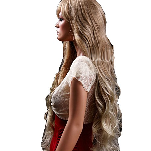[HSG sexy lady super long wigs oblique bangs blonde curly wigs big wavy fluffy wigs TF1164] (Long Sexy Wigs)