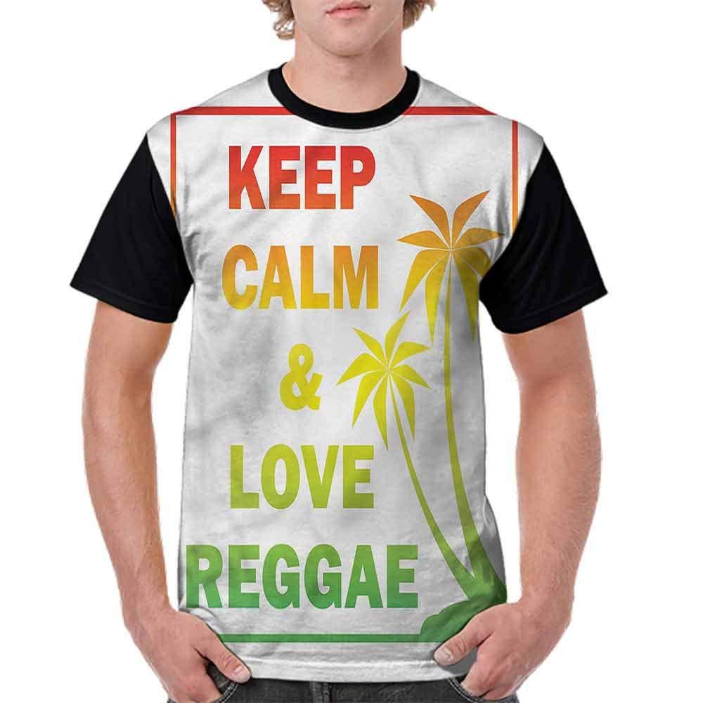 BlountDecor Cotton T-Shirt,Keep Calm Quote Reggae Fashion Personality Customization
