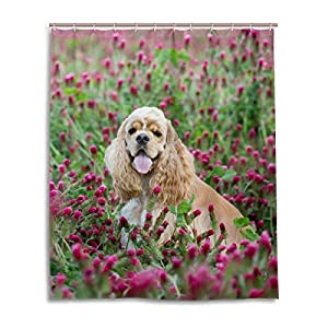 American Cocker Spaniel Purple Clover Shower Curtain with Hooks for Everday Use 60x72 inch Waterproof Woman Polyester Bathroom Set Fabric 1