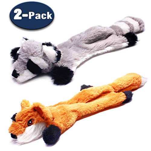 MigooPet Multi Squeaky Dog Toys Funny Doy Toys Durable Stuffless Plush Pet Toys Tough Dog Toys for Small Medium Large Dogs (Fox & Raccoon, 2-Pack)