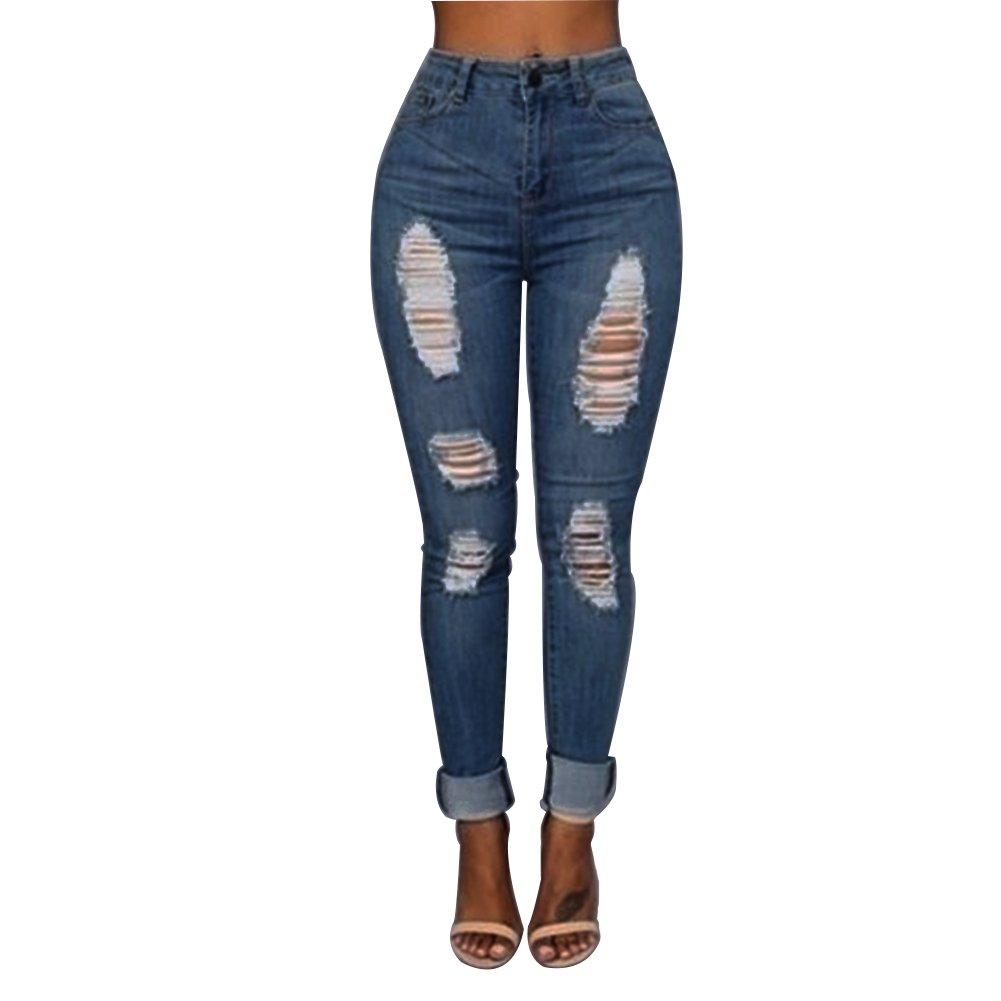 VICVIK Women Knee Skinny Denim Distressed Fashion Ripped Jeans (2XL, Blue)