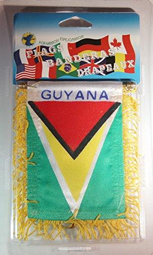 """Guyana Flag Rear View Mirror Mini Banner 4""""x 5.5"""""""