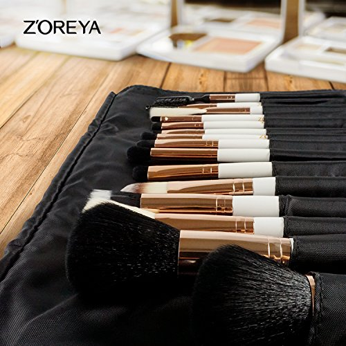 ZOREYA(TM) Makeup Brushes 15 Piece High End Rose Gold Professional Makeup Brush Set Kit with Free Pretty Full Set Leather Case Bag Cosmetic Contour Lip EyeShadow Powder Blending Fan Brush