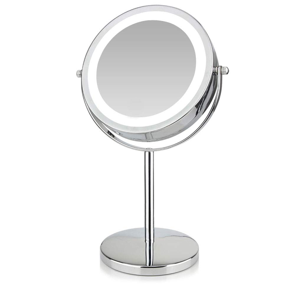 CDM product Bonlux HD Mirror with Light 10X Magnifying Double-Sided Lighted Makeup Mirror, 6.7 Inch Daylight 6000K LED Vanity Mirror, Wireless Portable Illuminated Bathroom Bedroom Cosmetic Mirror big image