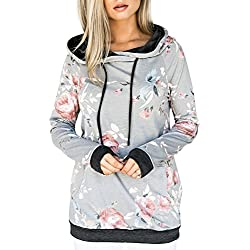 Floral Printed Sweater Black Trim Pullover Hoodie Tops Sweatshirt Grey&Black XXL