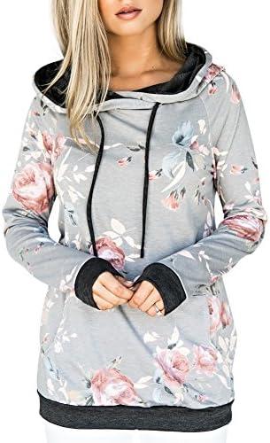Sudadera yumdo Sweater Pullover Floral impresión sudadera con capucha de manga larga para mujer