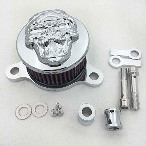 HTT GROUP Chromed Skull Zombie Air Cleaner Intake Filter System Kit Fit Harley Sportster XL883 XL1200 1988-1990 1991 1992 1993 1994 1995 1996 1997 1998 1999 2010 2011 2012 2013 ()