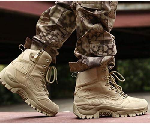 耐久性のある屋外の男性のスエードゴムのための砂漠の戦闘ブーツの靴の唯一の滑り止め耐摩耗レースアップスタイル (色 : 黒, サイズ : 27 CM)