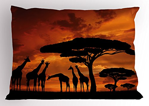 Majestic King Sham - Lunarable Africa Pillow Sham, Safari Animal with Giraffe Crew with Majestic Tree at Sunrise in Kenya, Decorative Standard King Size Printed Pillowcase, 36 X 20 inches, Burnt Orange and Black