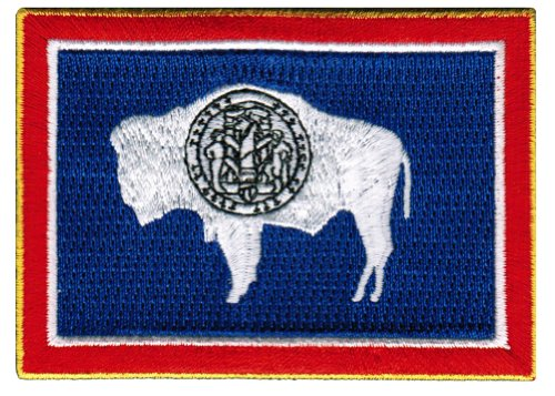 Wyoming State Flag Embroidered Patch Iron-On WY Emblem (Flag State Wyoming)