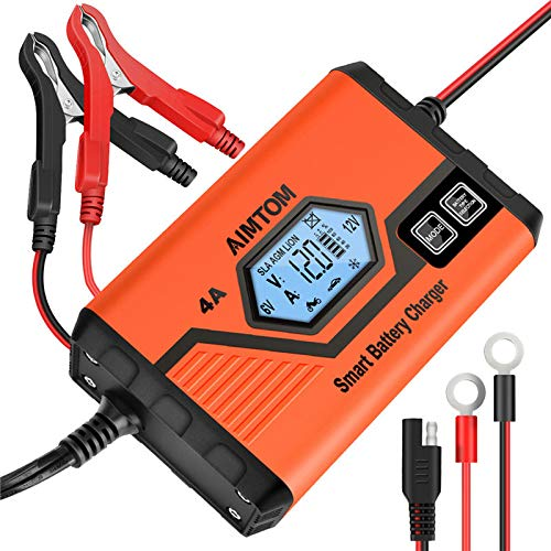 AIMTOM 4A 6/12V Smart Battery Charger Fully Automatic Maintainer 8-Stage Charging Process for Car Truck Motorcycle Boat RV SUV ATV Fits SLA, Wet, MF, Gel, VRLA, AGM, EFB, Li-ion Batteries