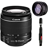 Canon 18-55mm IS STM Lens (WHITE BOX) + High Definition Telephoto Auxiliary Lens + Deluxe Lens Cleaning Pen