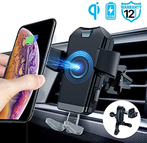 ACCGUYS Motorized Wireless Car Charger Mount,10W Qi Fast Charging Air Vent Phone Holder, Auto-Clamping Adjustable Car Mount Compatible with Samsung Galaxy Note 9 8 S9 S8,iPhone Xs Max XR X 8 8 Plus