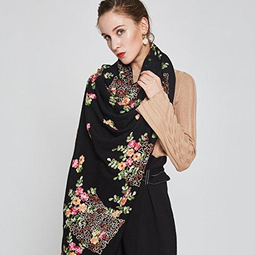DANA XU Embroidery 100% Pure Wool Pashmina Shawls and Wraps (Black) by DANA XU (Image #1)