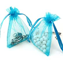 Organza Bags 100pcs 4 x 6 Inch Gift Bags Organza Drawstring Pouch Jewelry Party Wedding Favor Party Festival Gift Bags Candy Bags (Lake blue)