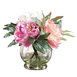 Realstic Peony Artificial Floral Bouquet In Vase with Acrylic Water, Pink, Polyester