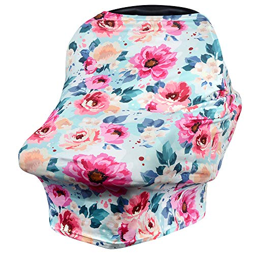 VIVOTE Nursing Cover for Breastfeeding Carseat Canopy Infant Car Seat Cover Nursing Scarf Multi Use Floral Baby Seat Cover for Shopping Cart, High Chair, Stroller, Stretchy, Breathable, -