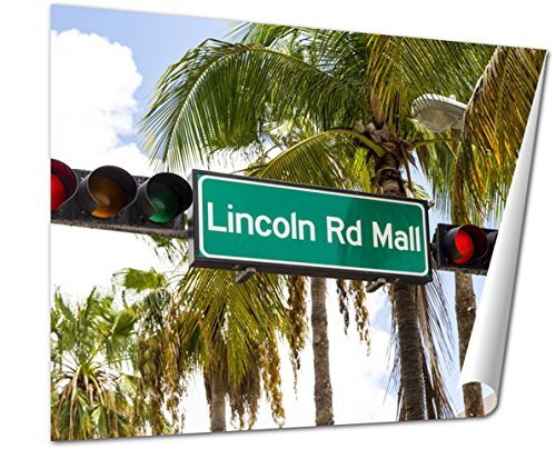 Ashley Giclee Fine Art Print, Lincoln Road Mall Street Sign Located In Miami Beach, 16x20, - South Beach Florida In Mall