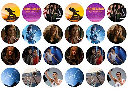 (Bohemian Rhapsody Movie Freddy Mercury Roger Taylor Edible Cupcake Toppers ABPID06209)