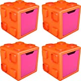 Chillafish BOX: Connectable Toy Storage and Play System, Orange/Pink, 4 Pack