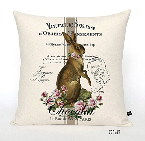 Pillow Cover Easter Bunny French Chocolate Rabbit linen or canvas throw pillow holiday decor cushion cover -