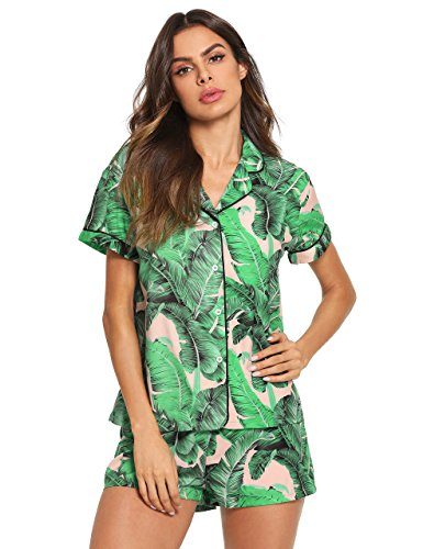 Floerns Women's Notch Collar Palm Leaf Print Sleepwear Two Piece Pajama Set Multicolor L (Best Women's Pajama Sets)
