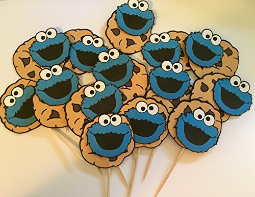 Cookie Monster inspired cupcake toppers, Cookie Monster inspired party (Cookie Monster Decorations)
