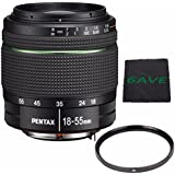 Pentax SMC DA 18-55mm f/3.5-5.6 AL Weather Resistant Lens + UV Filter + MicroFiber Cloth 6AVE Bundle