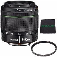 Pentax SMC DA 18-55mm f/3.5-5.6 AL Weather Resistant Lens + UV Filter + MicroFiber Cloth 6AVE Bundle