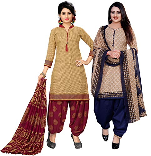 Rajnandini Women's Beige And Beige Cotton Printed Unstitched Salwar Suit Material (Combo of 2)