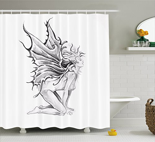 Tattoo Decor Shower Curtain by Ambesonne, Artistic Pencil Drawing Art Print Nude Fairy Opening its Angel Wings, Fabric Bathroom Decor Set with Hooks, 75 Inches Long, Black and - Nude Dorm Free